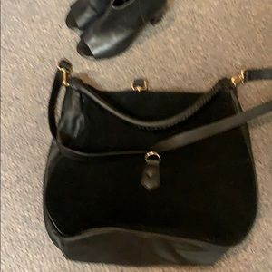 Black two toned leather bag